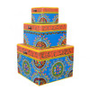 Set of Three Hand Painted Wooden Boxes