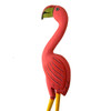 Tall Bright Pink Wooden Flamingo