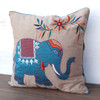 Embroidered Elephant Cushion Teal