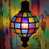 Bazaar Coloured Hanging Electric Lantern