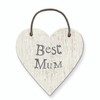 "Little Wooden Heart Tag ""Best Mum"""