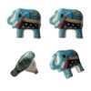 Set of 4 Hand Painted Elephant Door Knobs Turquoise