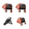 Set of 4  Hand Painted Elephant Door Knobs Orange