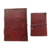 Set of 2 Leather Bound Notebooks Elephant Design