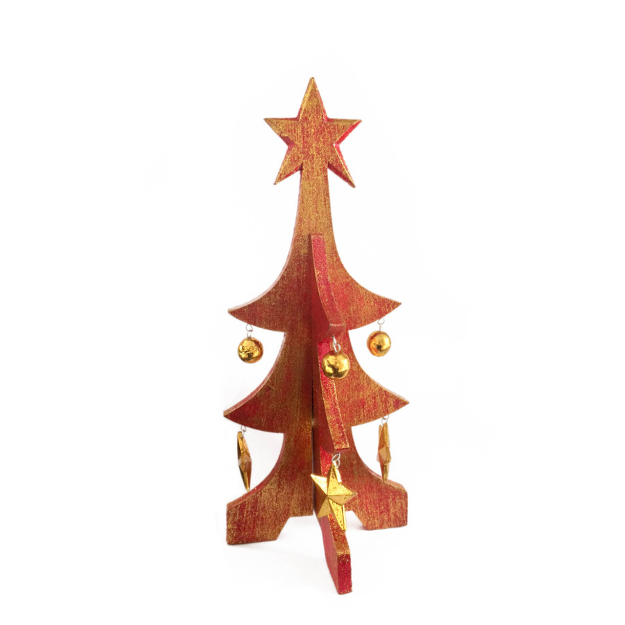Wooden Christmas Tree.Small Red Wooden Christmas Tree