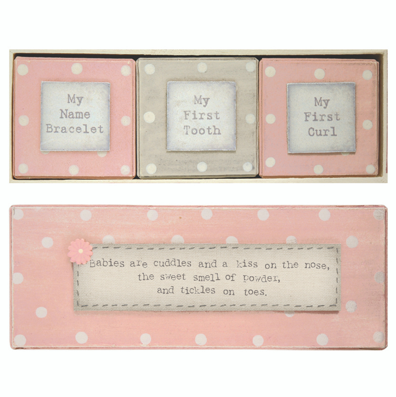 East Of India Wooden Birth Certificate Holder Pink