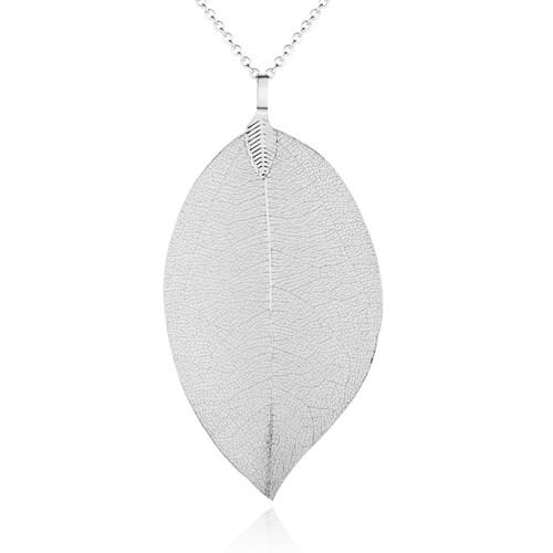 Skeleton Leaf Pendant- Silver on Chain