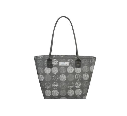 Grey Circle Oil Cloth Tote Bag