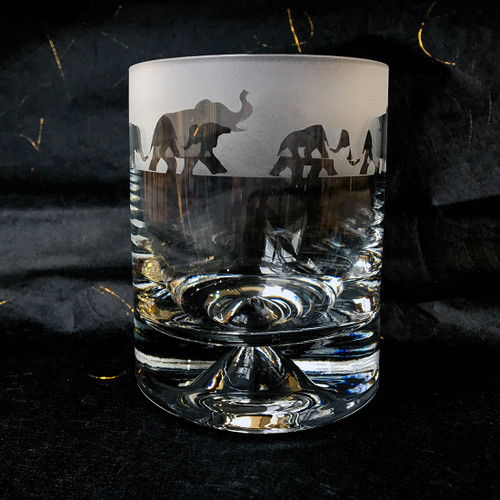 Glass Tumbler with Elephant Design