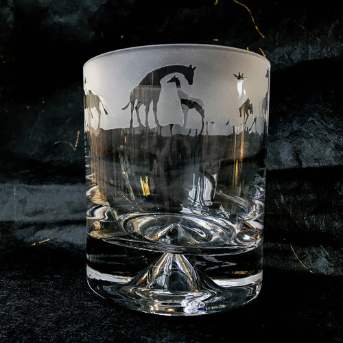 Glass Tumbler with Giraffe Design