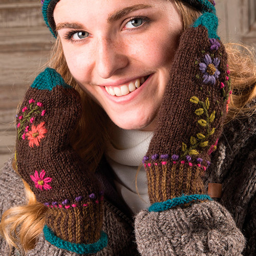Pair of Mittens with Embroidered Flowers Chocolate Brown