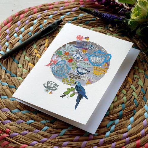 Teapot Service & Blue Parrot Laser Cut Card