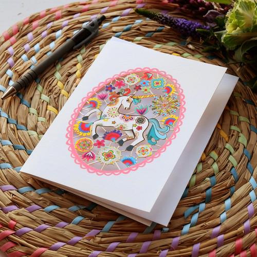 Oval Unicorn in Cake Laser Cut Card