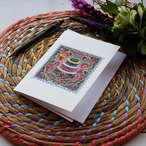 Folk Art Birthday Cake Laser Cut Card
