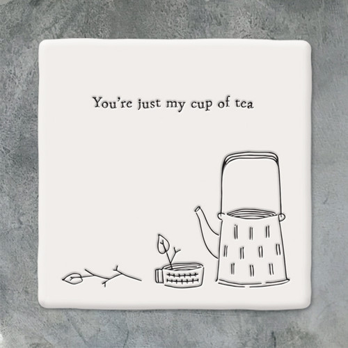 Square Porcelain Coaster - Just My Cup of Tea
