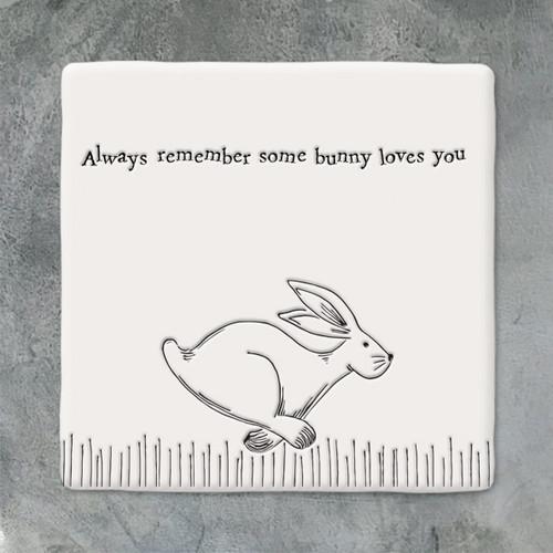 Square Porcelain Coaster - Running Hare