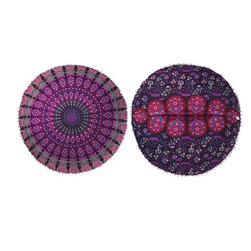 Floor Cushion with Peacock Design Purple