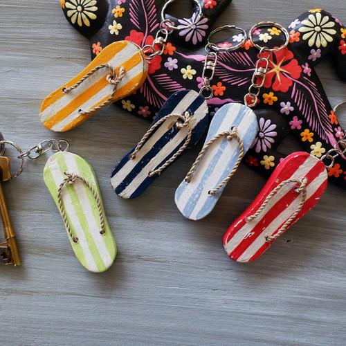Set of 5 Wooden Flip Flop Key Rings