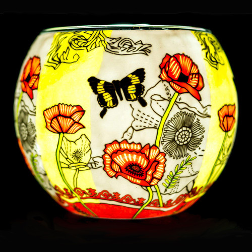 Poppy Butterfly Tealight Holder