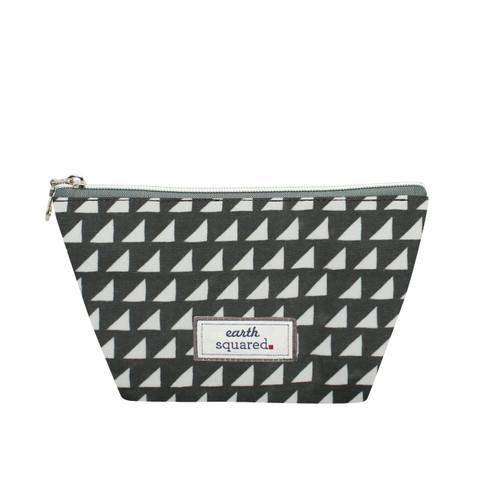 Grey Triangle Oil Cloth Make Up Bag