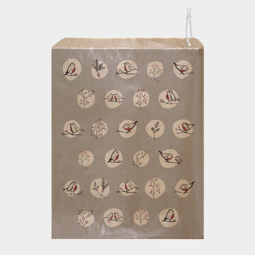 Paper Gift Bag Grey rosehips and robins
