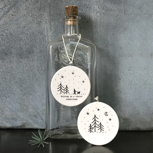 Flat porcelain bauble-Winter wonderland