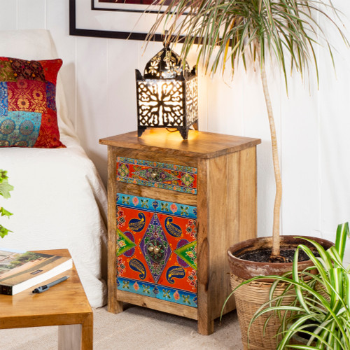 Bohemian Burnt Orange Hand Painted Cabinet