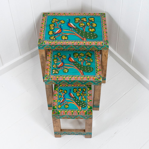 Nest Of Three Hand Painted Tables: Enchanted Peacocks