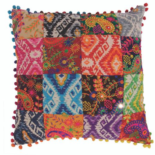 Square Patchwork Pom Pom Cushion