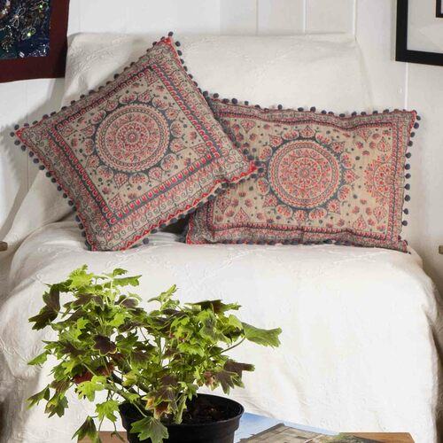 Square Mandala Pom Pom Cushion