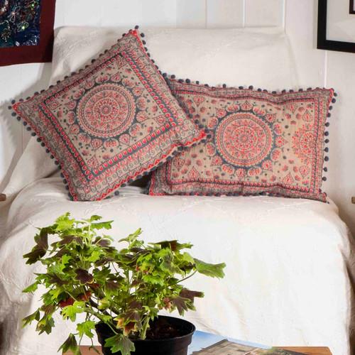 Rectangular Mandala Pom Pom Cushion