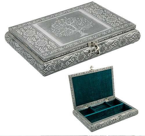 Silvery Tree of Life Jewellery Box
