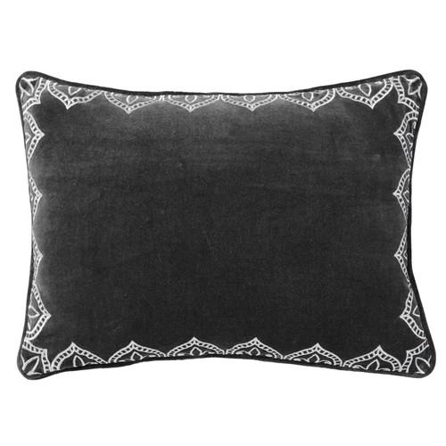 Mandir Velvet Cushion Grey