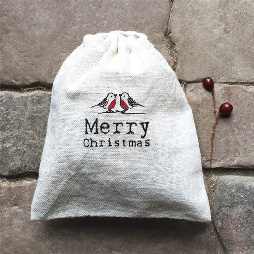 Merry Christmas Drawstring bag-Robins