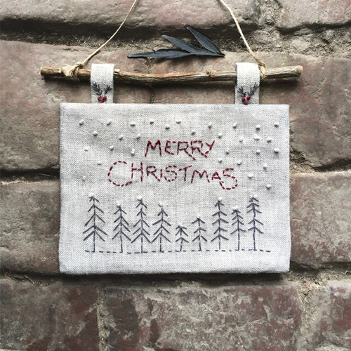 Embroiderd Christmas picture-Trees