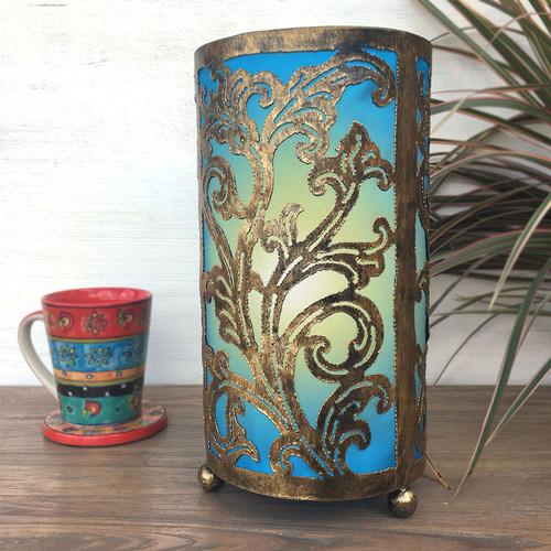 Cut-Work Metal Table Lamp Turquoise
