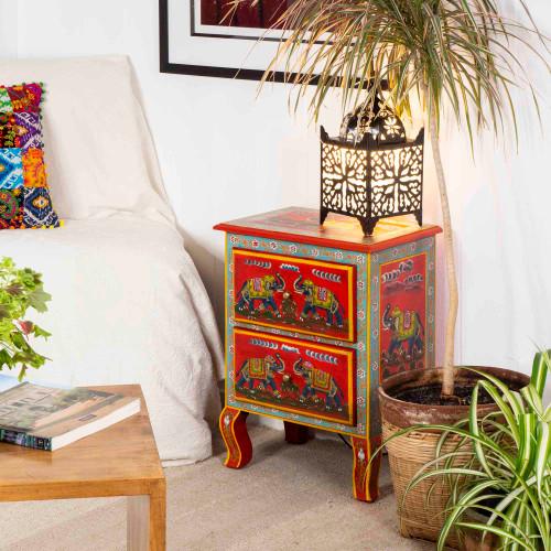 2 Drawer Bedside Cabinet Red Elephant Design