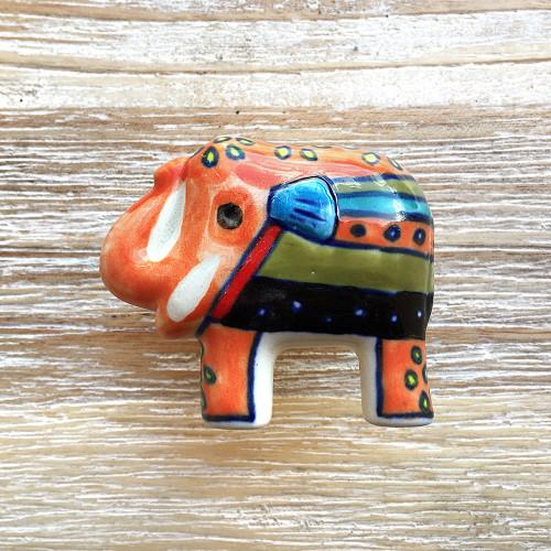 Hand Painted Elephant Door Knob Orange
