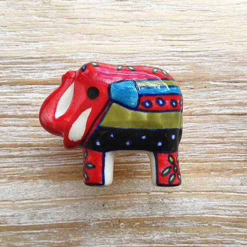 Hand Painted Elephant Door Knob Red