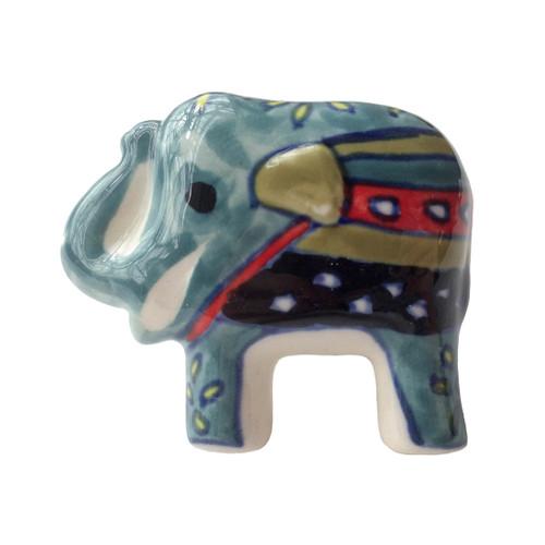 Hand Painted Elephant Door Knob Teal