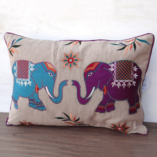 Embroidered  Elephant  Cushion
