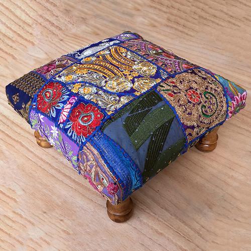 Khambadia Patchwork Footstool Blue