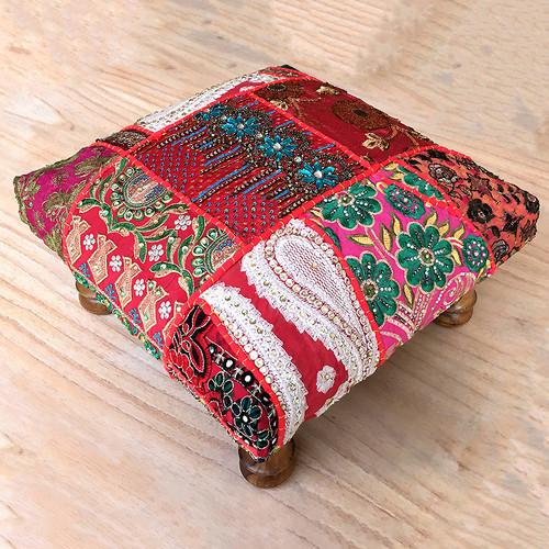 Khambadia Patchwork Footstool Red