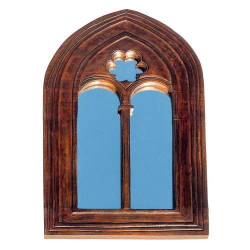Gothic Arch Wooden Mirror Small