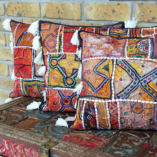 Black Patchwork Bohemian Embellished Cushion