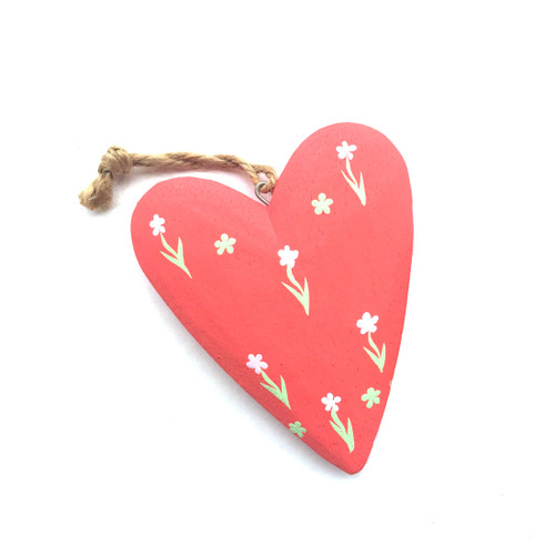 Large Red Wooden Heart with Flowers