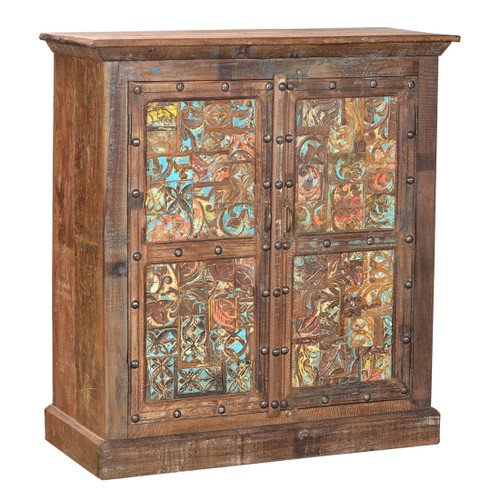 Patchwork Old Indian Cupboard - Old Indian Furniture - Fair Trade Present Company