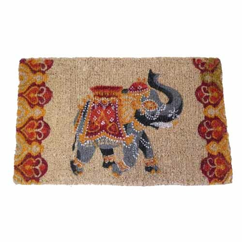 Elephant Print Doormat Orange