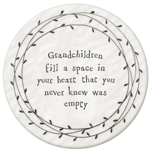 """Porcelain Coaster with Leaf Border """"Grandchildren"""""""