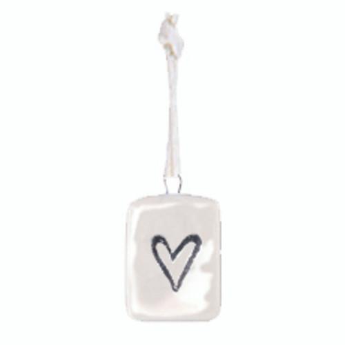 Porcelain Mini Heart Tag